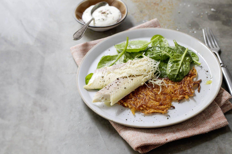 Räcuherforelle und Kartoffel-Rösti mit Paprika gewürzt