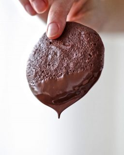 fingers holding a chocolate cookie
