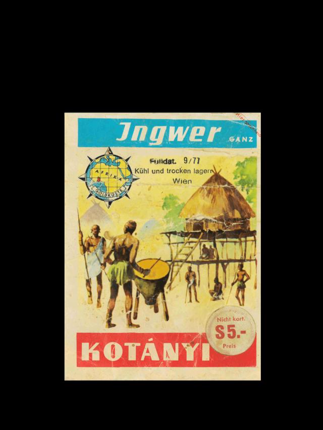 Пликче джинджифил Kotányi от 70-те години на миналия век.