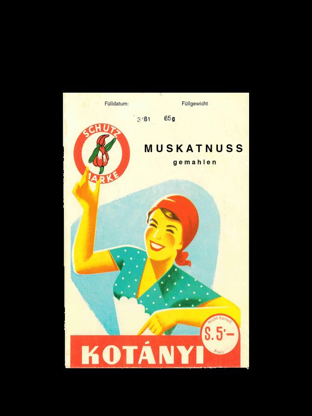 Пликче индийско орехче Kotányi от 50-те години на миналия век.